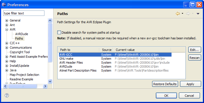 AVR Paths Preferences
